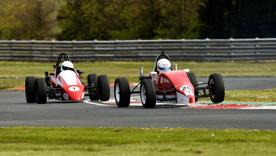 12-05-2019; Paul Heavey, Leastone, leads Anthony Cross, Sheane, on his way to winning round 3 of the Selco Formula Vee Championship race at Bishopscourt. Leinster Motor Club National Car Races. Bishopscourt, Co. Down. Photo Barry Cregg