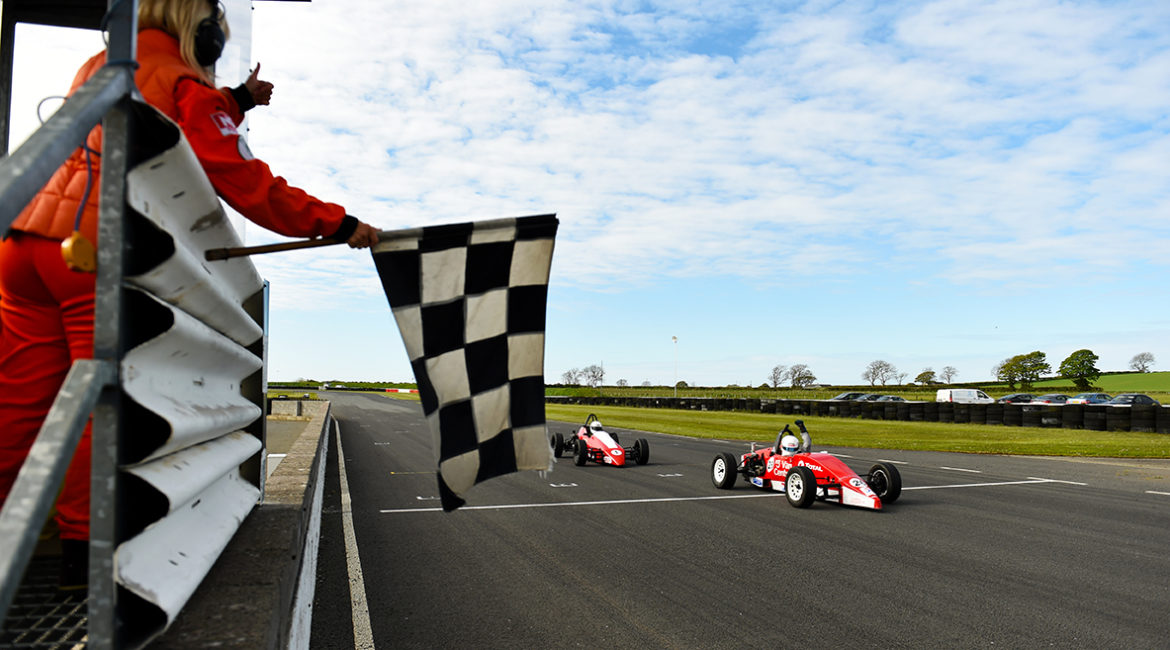 12-05-2019; Paul Heavey, Leastone, takes the chequered flag ahead of Anthony Cross, Sheane, to win round 3 of the Selco Formula Vee Championship race at Bishopscourt. Leinster Motor Club National Car Races. Bishopscourt, Co. Down. Photo Barry Cregg