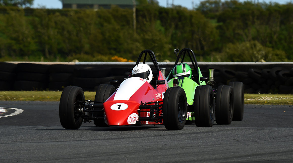 12-05-2019; Anthony Cross, Sheane, leads Jack Byrne, Sheane, on his way to winning round 4 of the Selco Formula Vee Championship race at Bishopscourt. Leinster Motor Club National Car Races. Bishopscourt, Co. Down. Photo Barry Cregg
