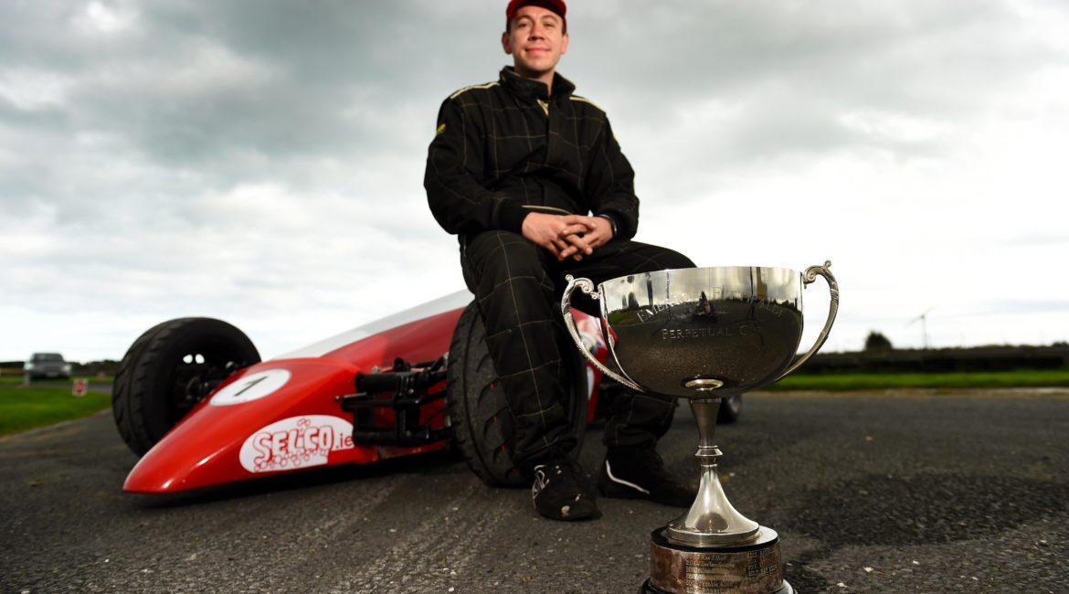 28-September 2019; Anthony Cross, with the Emerson Fittipaldi Trophy.  500 Motor Racing Club of Ireland car races, Kirkistown. Co. Down. Photo: Barry Cregg