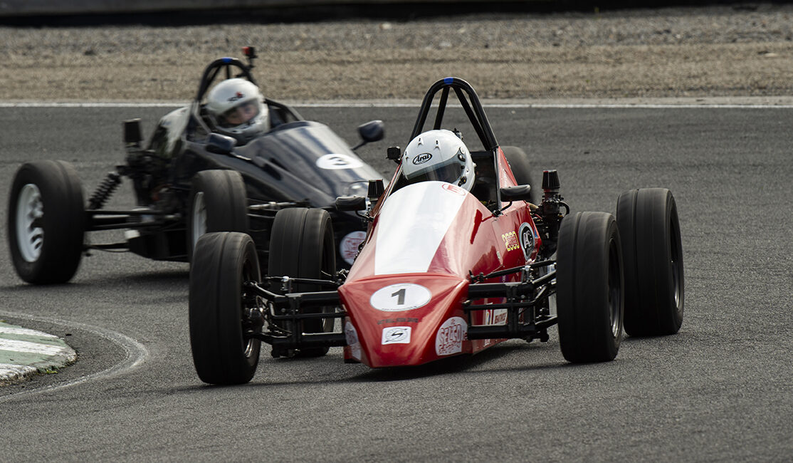 26-07-2020; Anthony Cross, Sheane, leads Gavin Buckley, Sheane, on his way to winning Formula Vee race one at the IMRC Car Races. Mondello Park, Donore, Naas, Co. Kildare.